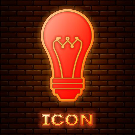 Glowing neon Light bulb icon isolated on brick wall background. Energy and idea symbol. Lamp electric. Vector Illustration