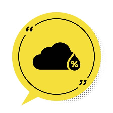 Black Humidity icon isolated on white background. Weather and meteorology, cloud, thermometer symbol. Yellow speech bubble symbol. Vector Illustration Stock fotó - 134901893