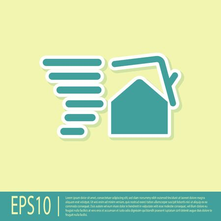 Green Tornado swirl damages house roof icon isolated on yellow background. Cyclone, whirlwind, storm funnel, hurricane wind icon. Vector Illustration Stock fotó - 134901895