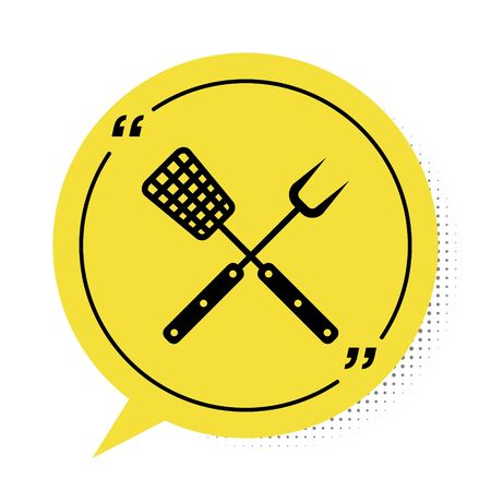Black Crossed fork and spatula icon isolated on white background. BBQ fork and spatula sign. Barbecue and grill tools. Yellow speech bubble symbol. Vector Illustration