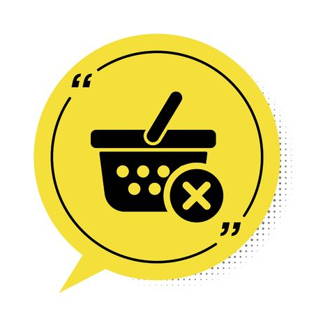 Black Remove shopping basket icon isolated on white background. Online buying concept. Delivery service sign. Supermarket basket and X mark. Yellow speech bubble symbol. Vector Illustration