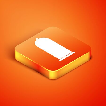 Isometric Condom safe sex icon isolated on orange background. Safe love symbol. Contraceptive method for male. Vector Illustration