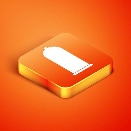 Isometric Condom safe sex icon isolated on orange background. Safe love symbol. Contraceptive method for male. Vector Illustration Reklamní fotografie - 134901901