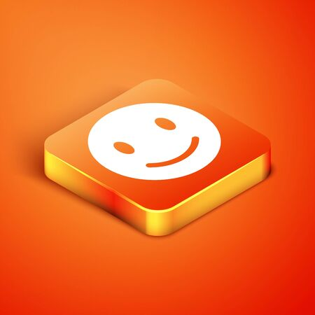 Isometric Smile face icon isolated on orange background. Smiling emoticon. Happy smiley chat symbol. Vector Illustration 向量圖像