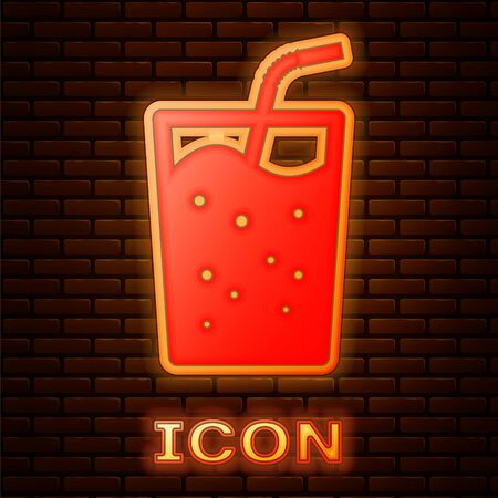 Glowing neon Glass with water icon isolated on brick wall background. Soda drink glass with drinking straw. Fresh cold beverage symbol. Vector Illustration 向量圖像