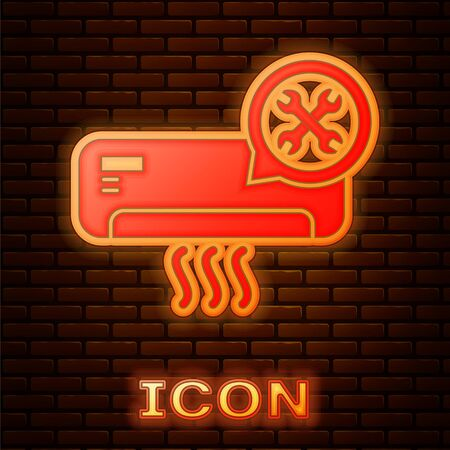 Glowing neon Air conditioner with screwdriver and wrench icon isolated on brick wall background. Adjusting, service, setting, maintenance, repair, fixing. Vector Illustration 向量圖像