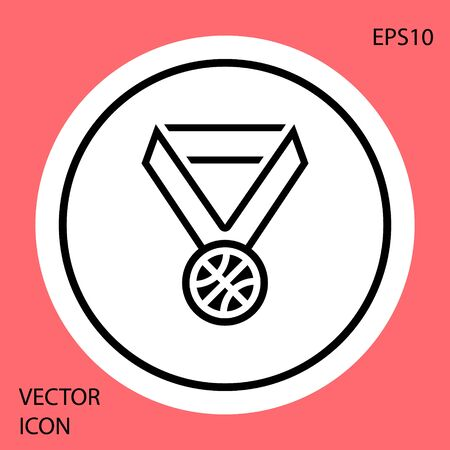 Black Basketball medal with ribbon icon isolated on red background. White circle button. Vector Illustration Stock fotó - 134901870