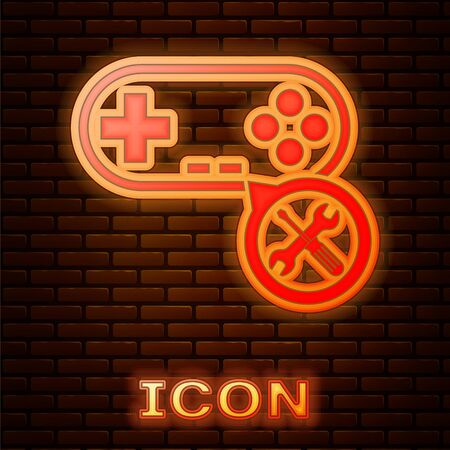 Glowing neon Gamepad with screwdriver and wrench icon isolated on brick wall background. Adjusting, service, setting, maintenance, repair, fixing. Vector Illustration