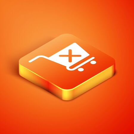 Isometric Remove shopping cart icon isolated on orange background. Online buying concept. Delivery service sign. Supermarket basket and X mark. Vector Illustration Illusztráció