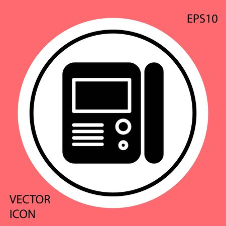 Black House intercom system icon isolated on red background. White circle button. Vector Illustration Illusztráció