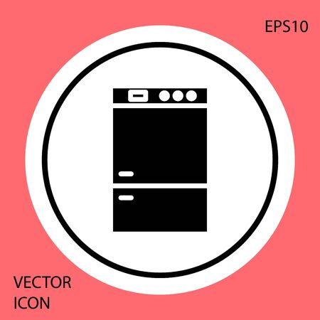Black Refrigerator icon isolated on red background. Fridge freezer refrigerator. Household tech and appliances. White circle button. Vector Illustration Stock fotó - 134901880
