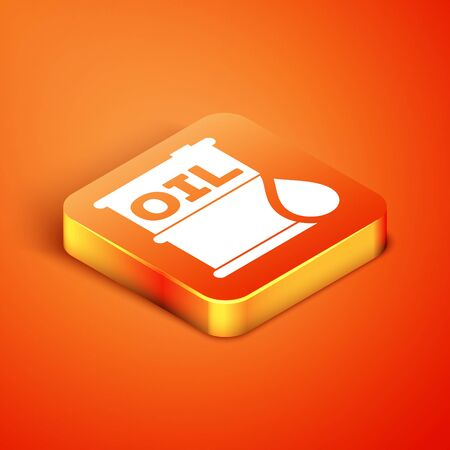 Isometric Oil barrel icon isolated on orange background. Oil drum container. For infographics, fuel, industry, power, ecology. Vector Illustration