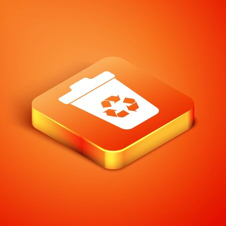 Isometric Recycle bin with recycle symbol icon isolated on orange background. Trash can icon. Garbage bin sign. Recycle basket sign. Vector Illustration Illusztráció