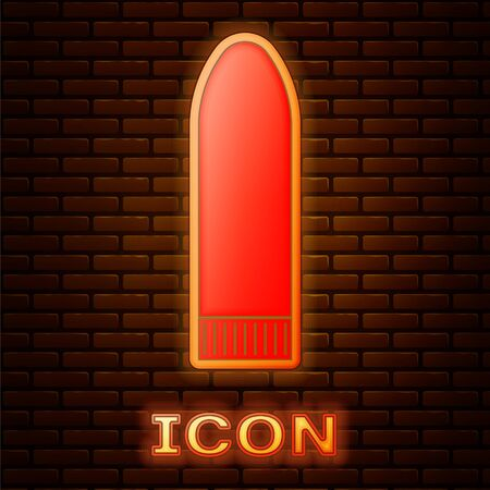 Glowing neon Dildo vibrator for sex games icon isolated on brick wall background. Sex toy for adult. Vaginal exercise machines for intimate. Vector Illustration