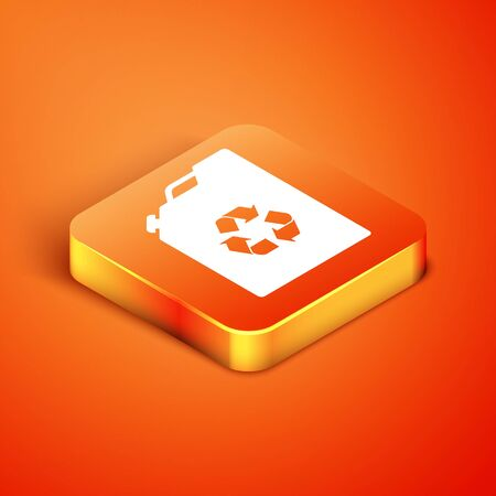 Isometric Eco fuel canister icon isolated on orange background. Eco bio and barrel. Green environment and recycle. Vector Illustration Stock Illustratie