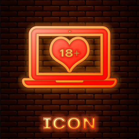 Glowing neon Laptop computer with 18 plus content heart icon isolated on brick wall background. Age restriction symbol. 18 plus content sign. Adult channel. Vector Illustration