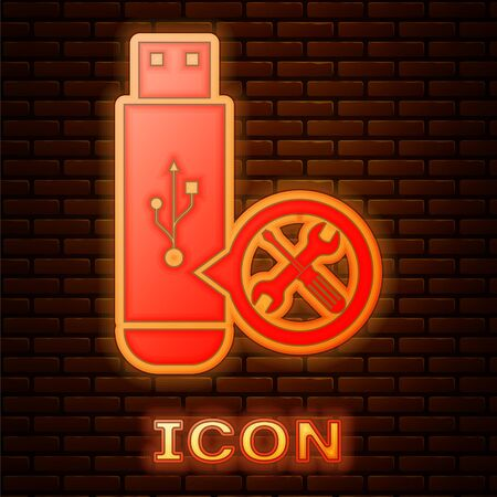 Glowing neon USB flash drive with screwdriver and wrench icon isolated on brick wall background. Adjusting, service, setting, maintenance, repair, fixing. Vector Illustration