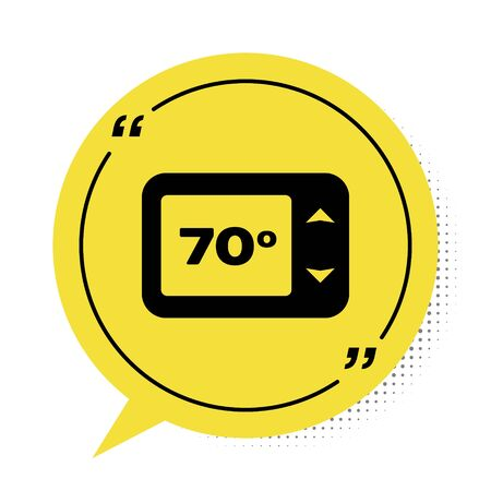 Black Thermostat icon isolated on white background. Temperature control. Yellow speech bubble symbol. Vector Illustration