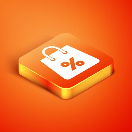 Isometric Shoping bag with an inscription percent discount icon isolated on orange background. Handbag sign. Woman bag icon. Female handbag sign. Vector Illustration Ilustração