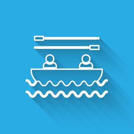 White line Boat with oars and people icon isolated with long shadow. Water sports, extreme sports, holiday, vacation, team building. Vector Illustration Stockfoto - 134901859