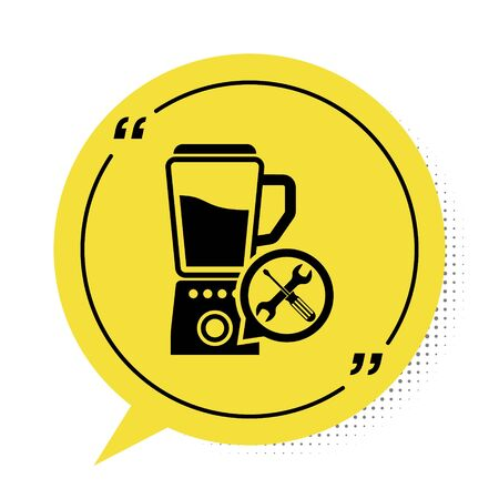 Black Blender with screwdriver and wrench icon isolated on white background. Adjusting, service, setting, maintenance, repair, fixing. Yellow speech bubble symbol. Vector Illustration Reklamní fotografie - 134901815