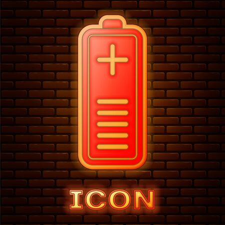 Glowing neon Battery charge level indicator icon isolated on brick wall background. Vector Illustration 向量圖像