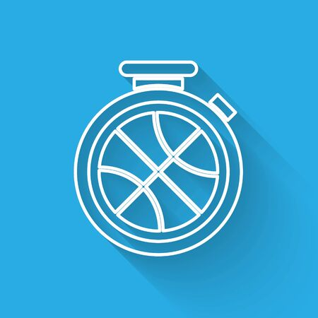 White line Stopwatch with basketball ball inside icon isolated with long shadow. Basketball time. Sport and training. Vector Illustration