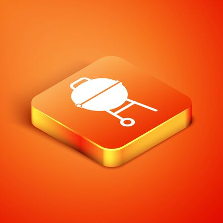 Isometric Barbecue grill icon isolated on orange background. BBQ grill party. Vector Illustration Reklamní fotografie - 134901830
