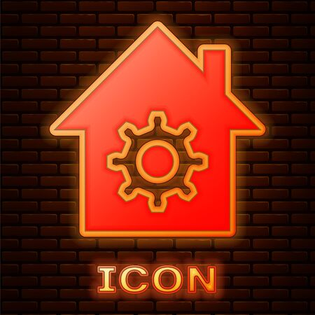 Glowing neon Smart home settings icon isolated on brick wall background. Remote control. Vector Illustration