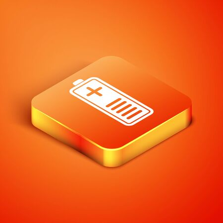 Isometric Battery charge level indicator icon isolated on orange background. Vector Illustration Ilustração