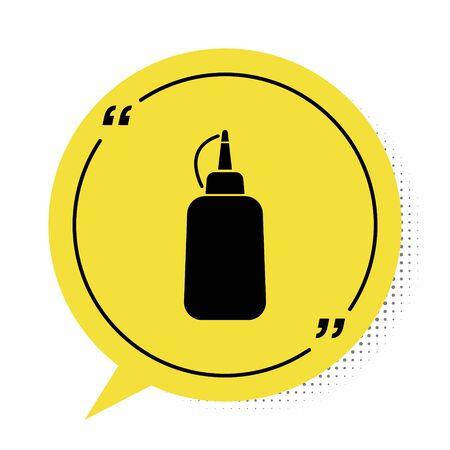 Black Mustard bottle icon isolated on white background. Yellow speech bubble symbol. Vector Illustration