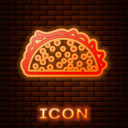 Glowing neon Taco with tortilla icon isolated on brick wall background. Traditional mexican fast food. Vector Illustration 向量圖像