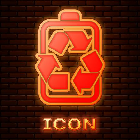 Glowing neon Battery with recycle symbol line icon isolated on brick wall background. Battery with recycling symbol - renewable energy concept. Vector Illustration 向量圖像