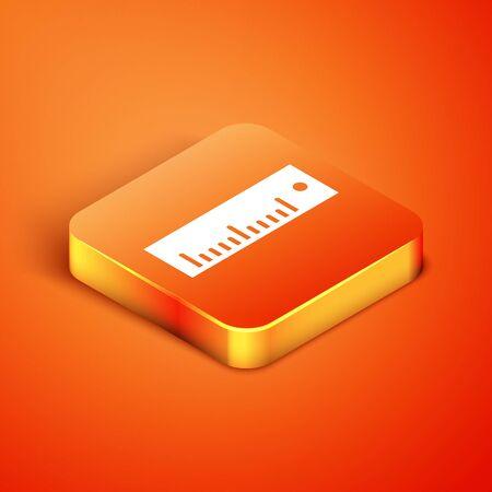 Isometric Ruler icon isolated on orange background. Straightedge symbol. Vector Illustration