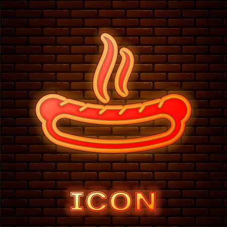 Glowing neon Hotdog sandwich with mustard icon isolated on brick wall background. Sausage icon. Fast food sign. Vector Illustration 向量圖像