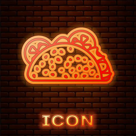 Glowing neon Taco with tortilla icon isolated on brick wall background. Traditional mexican fast food. Vector Illustration Reklamní fotografie - 134901803