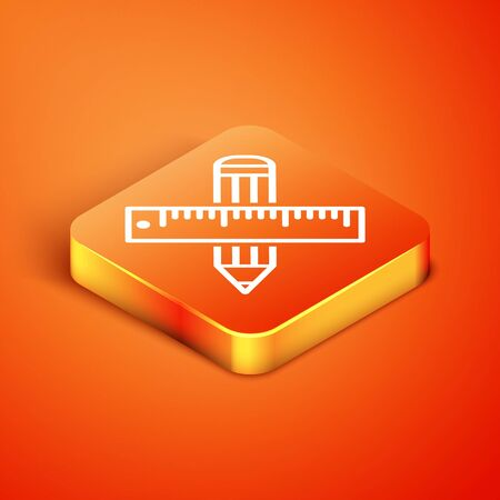 Isometric Crossed ruler and pencil icon isolated on orange background. Straightedge symbol. Drawing and educational tools. Vector Illustration