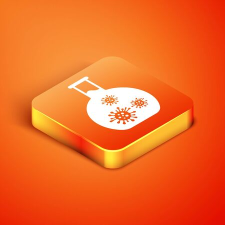 Isometric Laboratory glass test tube with virus and bacteria icon isolated on orange background. Analysis microorganism, research, diagnosis. Vector Illustration