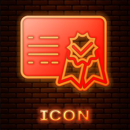 Glowing neon Certificate template icon isolated on brick wall background. Achievement, award, degree, grant, diploma. Business success certificate. Vector Illustration