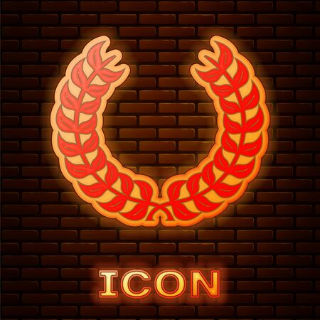 Glowing neon Laurel wreath icon isolated on brick wall background. Triumph symbol. Vector Illustration