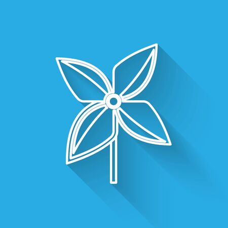 White line Pinwheel icon isolated with long shadow. Windmill toy icon. Vector Illustration