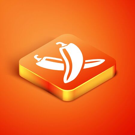 Isometric Crossed hot chili pepper pod icon isolated on orange background. Design for grocery, culinary products, seasoning and spice package. Vector Illustration Reklamní fotografie - 134900973