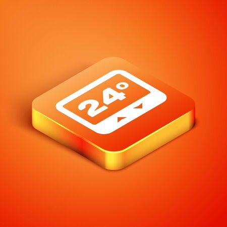 Isometric Thermostat icon isolated on orange background. Temperature control. Vector Illustration