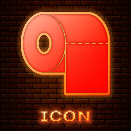 Glowing neon Toilet paper roll icon isolated on brick wall background. Vector Illustration
