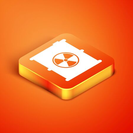 Isometric Radioactive waste in barrel icon isolated on orange background. Toxic refuse keg. Radioactive garbage emissions, environmental pollution. Vector Illustration