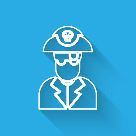 White line Pirate captain icon isolated with long shadow. Vector Illustration