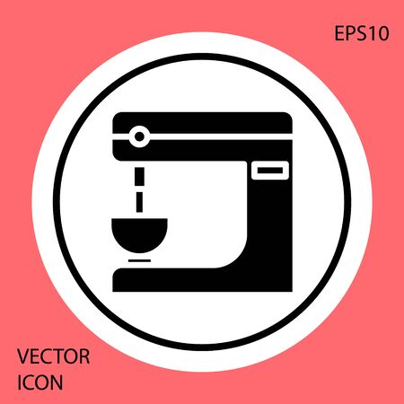Black Electric mixer icon isolated on red background. Kitchen blender. White circle button. Vector Illustration Reklamní fotografie - 134901030