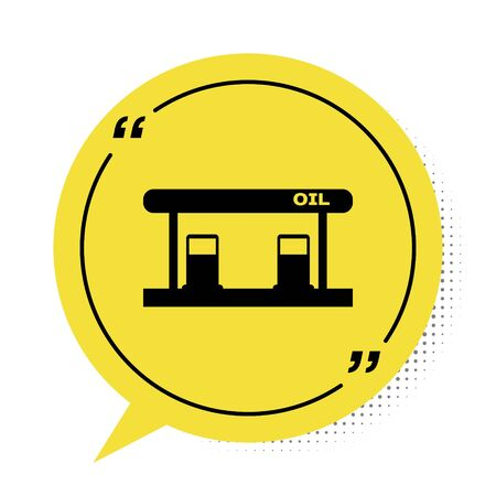 Black Gas filling station icon isolated on white background. Transport related service building Gasoline and oil station. Yellow speech bubble symbol. Vector Illustration
