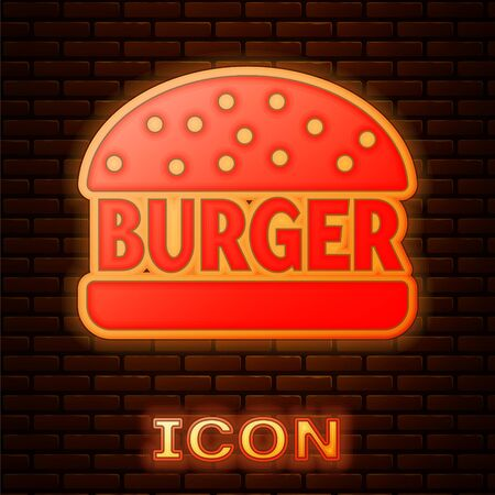 Glowing neon Burger icon isolated on brick wall background. Hamburger icon. Cheeseburger sandwich sign. Vector Illustration