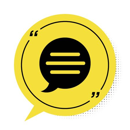Black Speech bubble chat icon isolated on white background. Message icon. Communication or comment chat symbol. Yellow speech bubble symbol. Vector Illustration Stock Illustratie